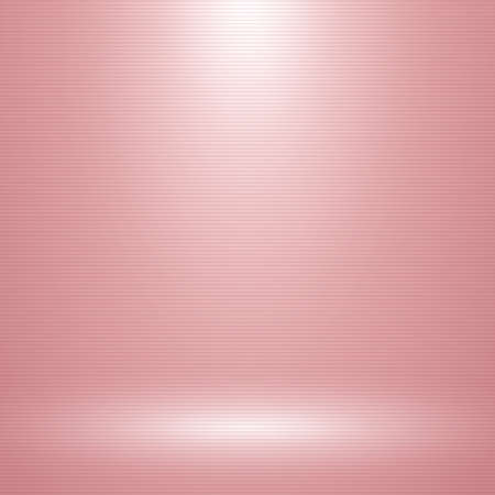 Pink empty room with one spotlight and horizontal lines texture. Abstract rose gold studio can used for background and display brand or product. Black edition. Vector illustration