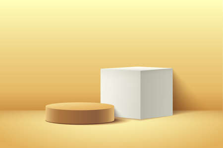 Abstract cube & round display for product on website in modern. Background rendering with podium and minimal texture wall scene, 3d rendering geometric shape white & golden color. Vector