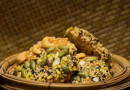 snake bar: Rice Cereal pumpkin seeds Stock Photo