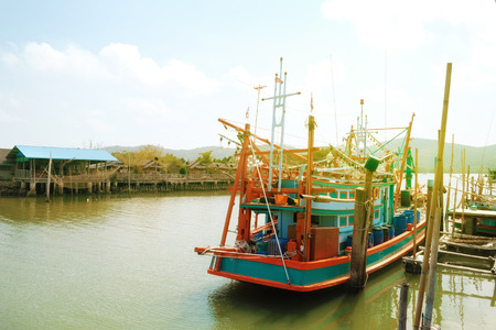boat for fishing at fishing village in Rayong, Thailand Stock Photo