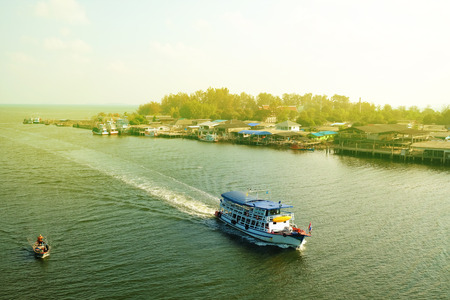passenger ships on river Thai style a river cruise tour , Rayong Thailand