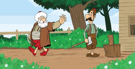 Nasreddin Hodja character vector greets people