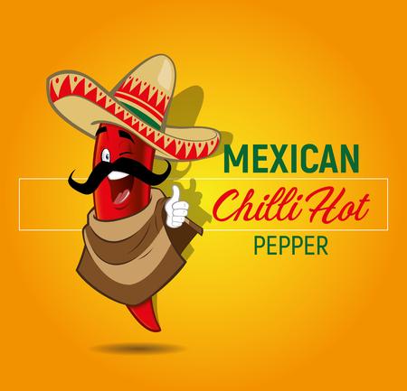 Chili Hot pepper mascot illustration