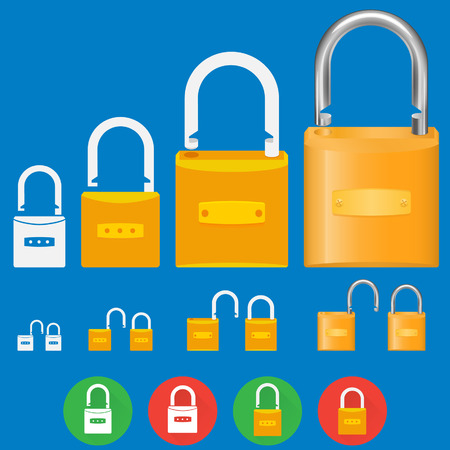 basic: Illustrations of locks, basic shape to detailed illustration
