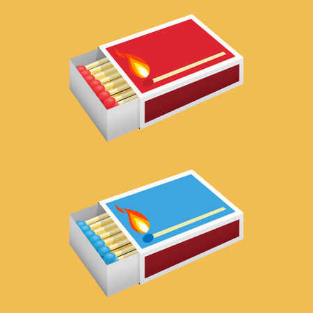 matchbox: Detailed open matchbox illustration with matches inside in two colors blue and red