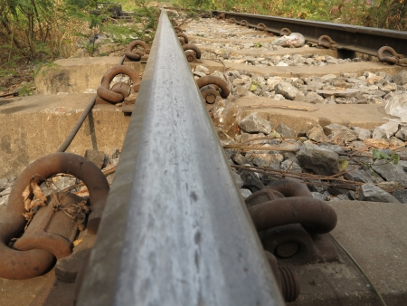 deceleration: Close up view of old train tracks