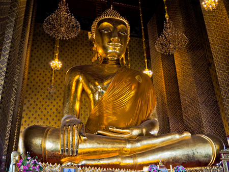 piety: Buddha ancient  at  temple Thailand