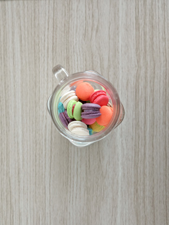 garish: French sweet meringue-based confection called macarons: different colours