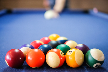 leaning over: Snooker ball on snooker table,  game on  table, International sport