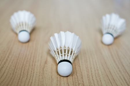 enterprising: badminton shuttlecock  on the brown ground Stock Photo