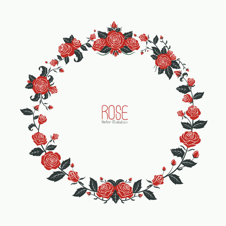 Garland of red roses,vector illustration
