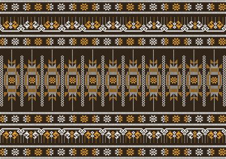 seta thailandese: marrone panno di seta e modello arancione, illustrazione vettoriale Vettoriali