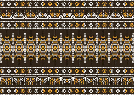 seidenstoff: Seidentuch braun und orange Muster, Vektor-Illustration Illustration
