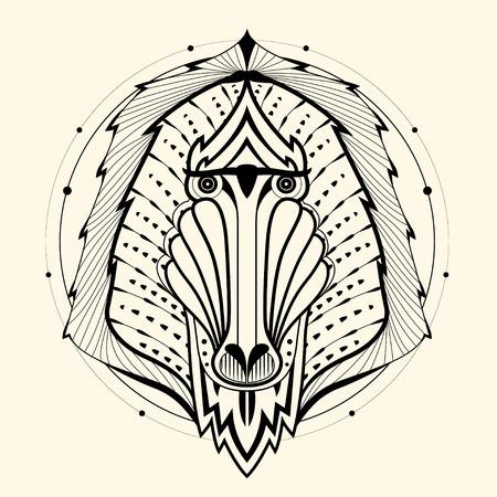 mandril: Babuino dise�o zentangle, ilustraci�n vectorial Vectores