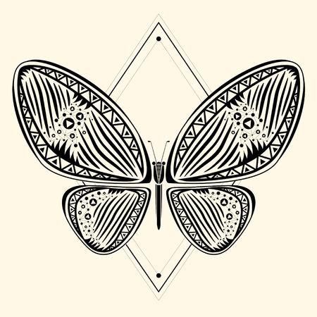 Mariposa tribal abstracto, ilustración vectorial Foto de archivo - 37234140