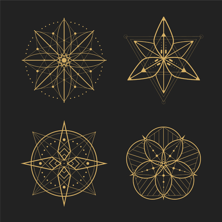 Gold geometry set design;vector illustration 矢量图像