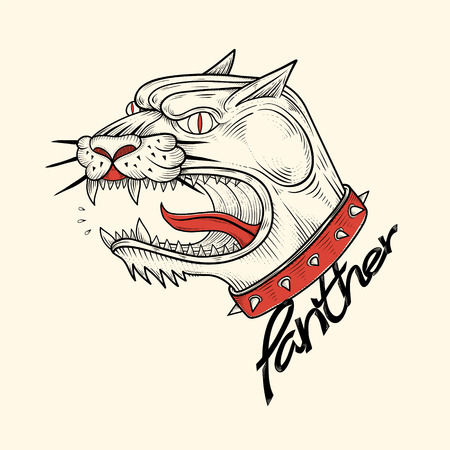 Panther roared drawing,vector illustration