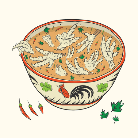 Chicken Paw Soup,vector illustration