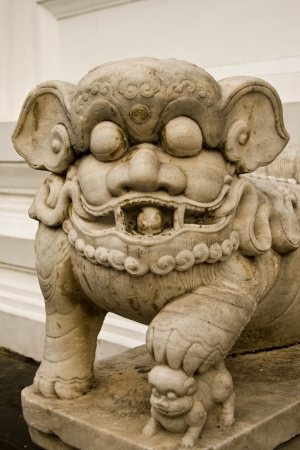 The chinese lion statue are the amulet to put at the door to protect the bad thing. Stock Photo - 14006340