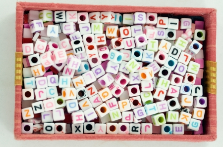 A box has dice in it  Dice has letter in it  Stock Photo