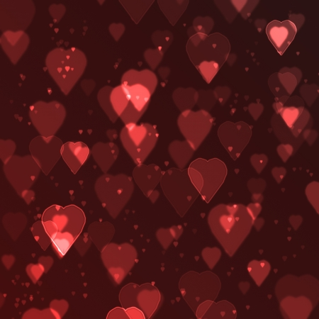 red heart bokeh background made from digital graphic  Stock Photo