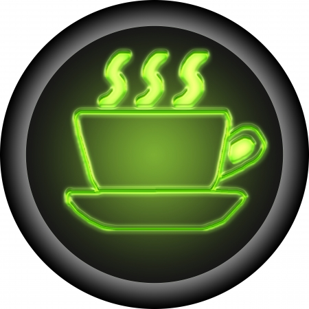 Glowing coffee button . is icon of coffee photo