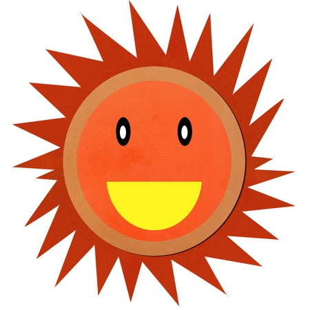 clod: Smiling sun made by clay. Made from Clod clay technique. The smiling sun are look happy and shining. Stock Photo