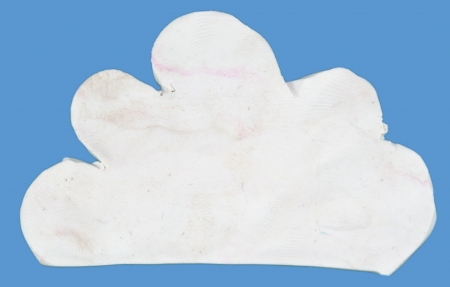 clod: White cloud made form clay on blue isolated. Made from Clod clay and digital retouch technique. Stock Photo