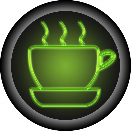 Glowing coffee button . is icon of coffee Stock Photo - 15298273