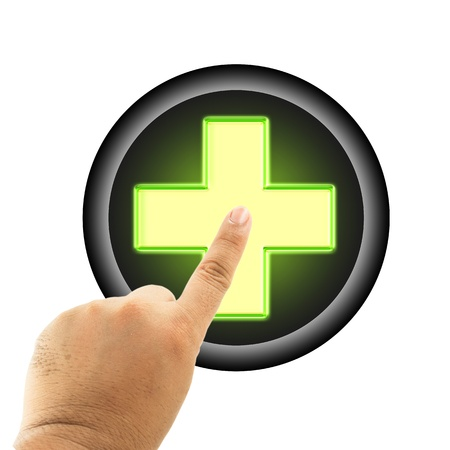medic: Glowing Medic cross button and pointing finger Stock Photo