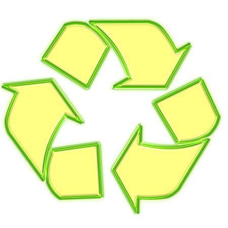 Glowing green recycle logo photo