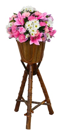 Flower in wood pot use for decorative in door and outdoor. photo