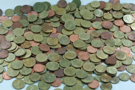 Heap of Thai bath background. This coins is 50 Satang coins photo
