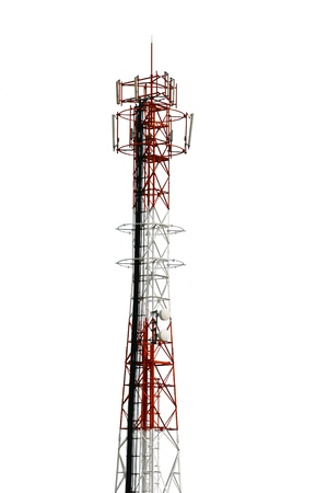 Cellphone telecommunication tower on white isolate background. Use dicut technique to be isolated Stock Photo