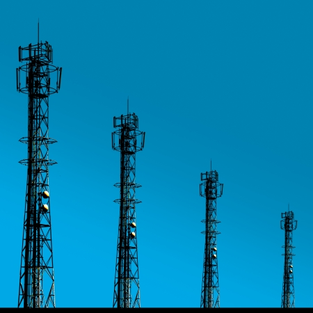 four shadow of telecomunication tower and has blue background like sky Stock Photo