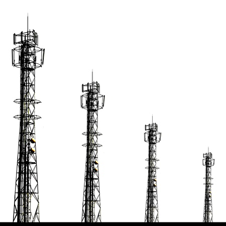 Shadow telecomunication tower on White isolated background