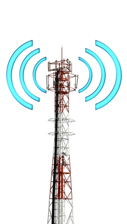 Telecomunication tower and has graphic like signal to transfer data photo