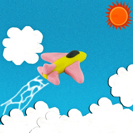 Jet fighetr on bluesky with sun and cloud and it has smoke of jet Stock Photo - 16388615