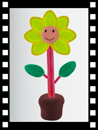 technic: The single film strip and has flower made from clay sculpting technic inside