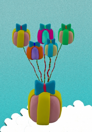 Flying jet airplane use gift box like balloon  This picture concept like fly higher  photo