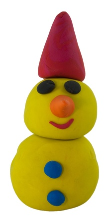 Happy yellow snowman with hat made from clay on white Stock Photo - 16459718