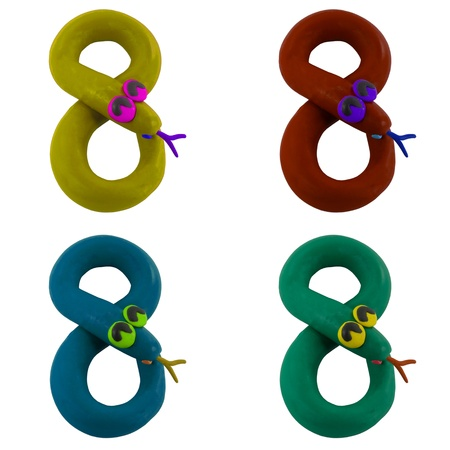 Clay snake create to number eight Stock Photo - 16459728
