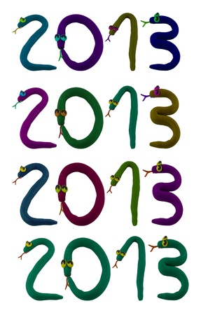 Clay snake create to 2013 in set Stock Photo - 16459707