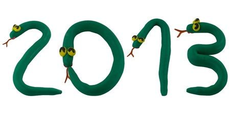 Smiling snake made from clay to word 2013 Stock Photo - 16459735