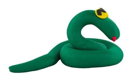 a snake in a bag: Happy cute green snake made from clay Stock Photo