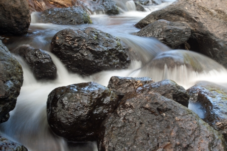 Water of water fall on rock photo