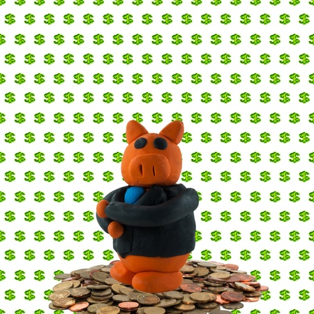 Businessman pig on coin and green dollar background photo