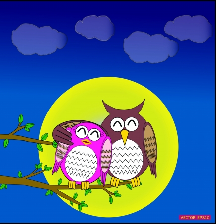 Cute owl in love in full moon day Vector