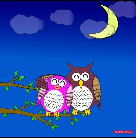 Cute owl in love in moon day Vector