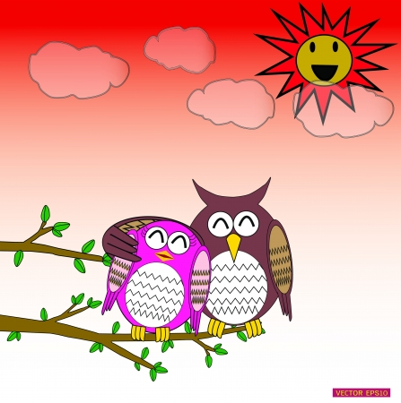 Cute owl in love in sunset day Vector